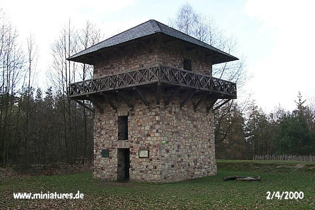 Rear left corner of the watchtower.