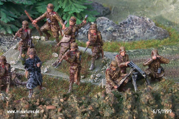 Revell German infantry of WW1 painted to represent Bulgarian infantry of World War Two