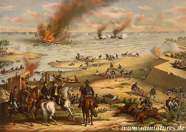 Bataille de Hampton Roads, 8 - 9 March 1862, the battle of the ironclads CSS Virginia and USS Monitor in the mouth of the James river.