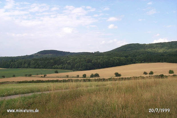 View from the Schmiedebrink, looking northwest, toward the Obensburg and the Schecken.