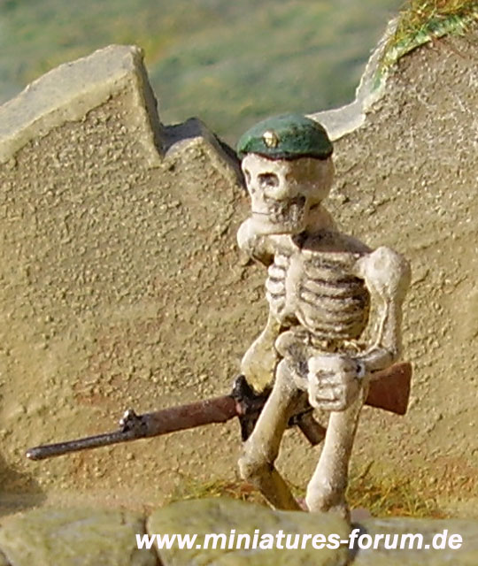 Games Workshop Skeleton Army figure converted to an undead British Marine with L1A1 self-loading rifle (SLR)