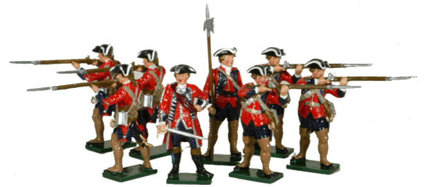 Officer, sergeant and privates of the 60th Royal American Regiment of Foot, 54 mm Miniatures Tradition of London 622