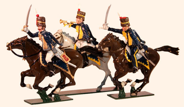Officer, trumpeter and sergeant of the 7th (Queen's Own) Hussars of the Napoleonic Wars, 1803–1815, 54 mm Miniatures Tradition of London 760