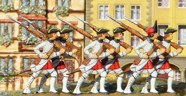 Fusiliers and grenadier of the French 58th infantry regiment de Vastan, 40 mm Miniatures Prince August 17