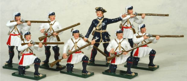 Officer and men of the French Compagnies Franches de la Marine, 54 mm Miniatures Tradition of London 620