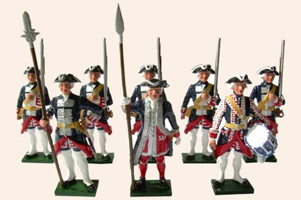 Officer and men of the French Guards during the Seven Years' War, 54 mm Toy Soldiers Tradition of London 660
