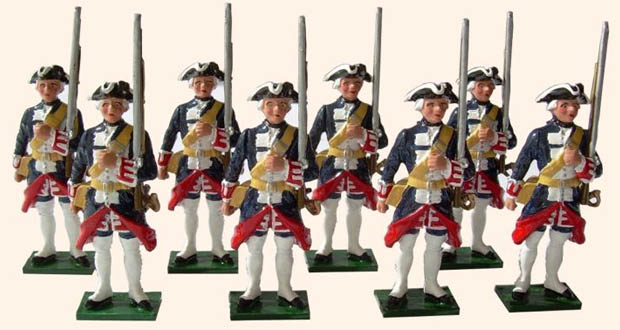 Soldiers of the French Guards during the Seven Years' War, 54 mm Toy Soldiers Tradition of London 661