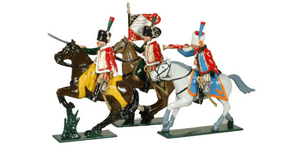 Officer, Eagle-Bearer and Trumpeter of the French Imperial Guard Chasseurs à Cheval, 1804– 1815, 54 mm Toy Soldiers Tradition of London 759