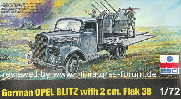 German 20 mm Quad FlaK 38 Self-Propelled on Opel Blitz Truck, with Luftwaffe crew, 1:72 Model Kit ESCI 8366