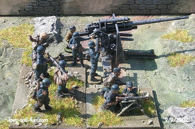 Luftwaffe light infantry and heavy FlaK deployed for action
