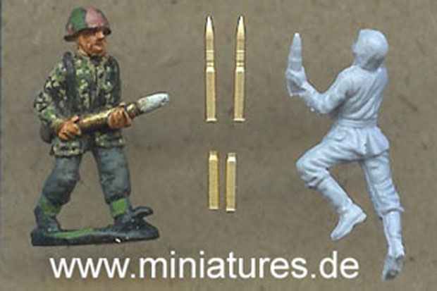 German 75 mm Brass Shells for PaK 40 Anti-Tank Guns compared to Airfix and Raventhorpe