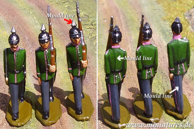 Mould lines on 40 mm Zinnbrigade miniatures