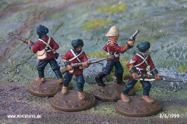 British Indian 34th (Punjab) Regiment, Bengal Infantry Pioneers, 25 mm Miniatures Ral Partha 88-101 & 88-103