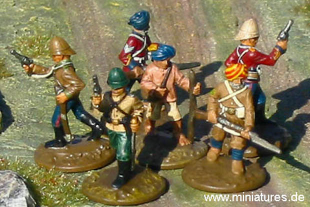Indian Infantry Command Group, 1877–1893, 25 mm Colonial Miniatures Ral Partha 88-103