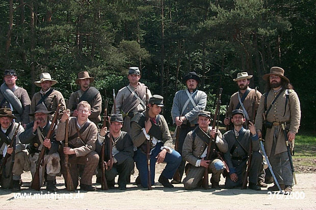Officer and men of the 7th Georgia Infantry at the reenactment of the Battle of Five Forks