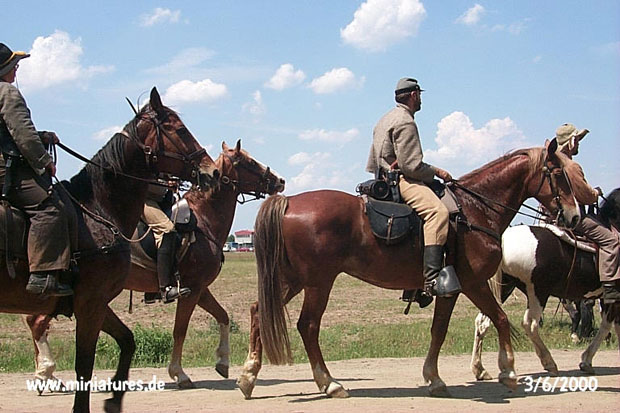 Confederate cavalry marching