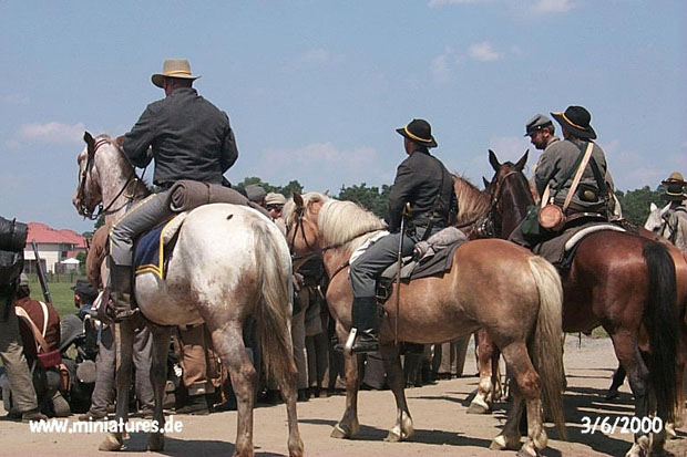 Confederate cavalry at attention