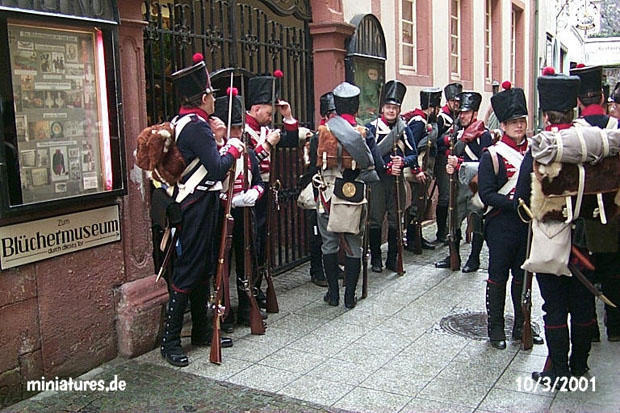 Prussians and Hessians in front of the Blüchermuseum, Metzergasse in Kaub