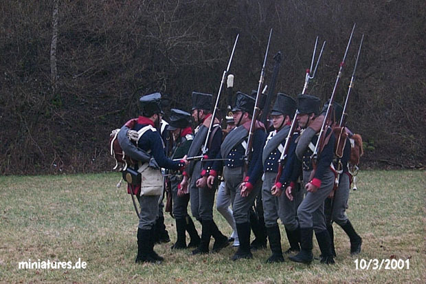 Unteroffizier of the Leib-Regiment drilling his men