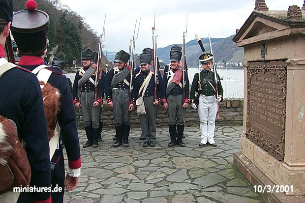 Prussians and Hessians at attention in front of the Gedenkstein