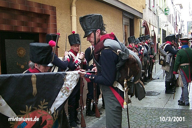 Furling the colours of the Leib-Infanterie-Regiment