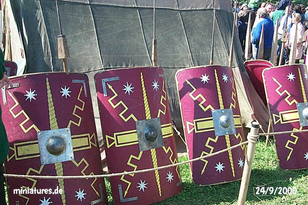 Shields and pila in front of the leather tents of legio VIII Augusta