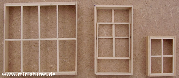 Sash windows for Old West buildings in dioramas and wargames