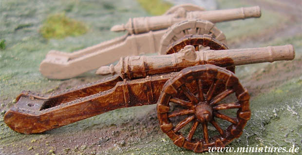Stain painted artillery piece of the 30 Years War