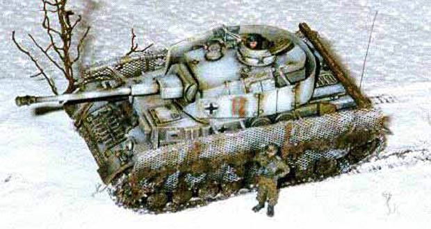 Weathered German Panzer IV Ausf. G3 with winter camouflage paint scheme